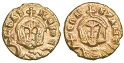 Ancient Coins - LAST SYRACUSE ISSUE Basil I & Constantine Debased Gold Semissis AD 868-878 R2 aUNC