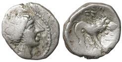 Ancient Coins - Cisalpine Gaul. Insubres AR Drachm. Imitating Massalia. 2nd century BC VF+. Rare