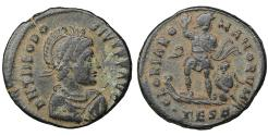 Ancient Coins - Theodosius I AD 383-388 Maiorina Thessalonica XF+ Roman Coins