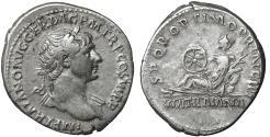 Ancient Coins - Trajan 113 AD Silver Denarius XF Via Traiana issue \ roman coin