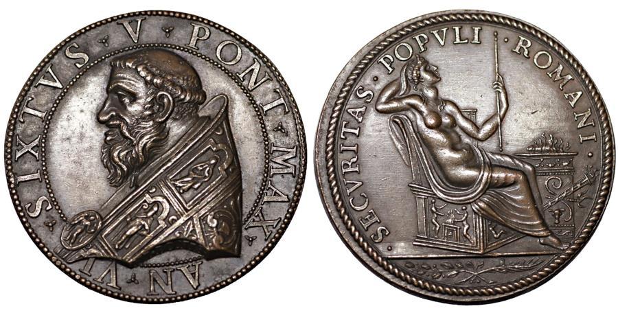 World Coins - Papal States Sisto V 1585-1590. Bronze Medal 1590 Rare UNC Collection patina
