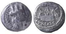 M. Plaetorius M.f. Cestianus. Denarius. minted ca. 67 BC. VF. Dark toned.