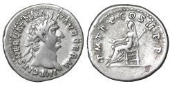 Ancient Coins - TRAJAN 98-117 AD AR Denarius Vesta XF