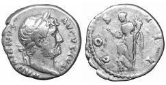 Ancient Coins - Hadrian AR Denarius Rome AD 125-128 Abundantia XF