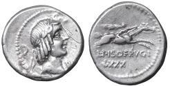 Ancient Coins - Calpurnia. Calpurnius Piso Frugi. Silver Denarius. 90 BC. VF/EF