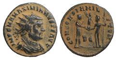Ancient Coins - Maximianus BI Radiate Cyzicus AD 295-299 XF\UNC CONCORDIA MILITVM \ Roman Coins