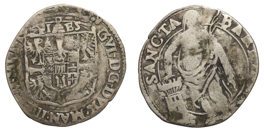 World Coins - Mantua Guglielmo Gonzaga 1550-157 Giulio Scarce VF