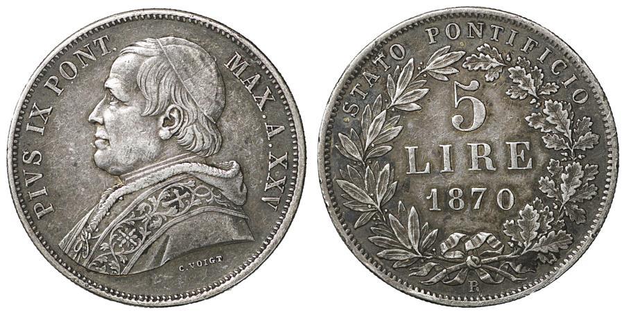 World Coins - Papal States Pius IX 1846-1878 5 Lire 1870 XF+