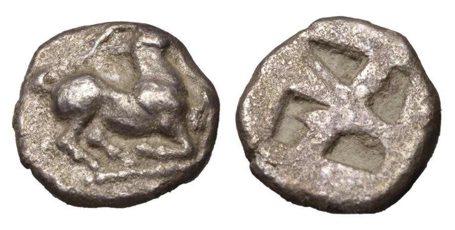 Ancient Coins - MACEDONIAN CITIES. AIGAI 500-480 BC. AR Trihemiobol. VF