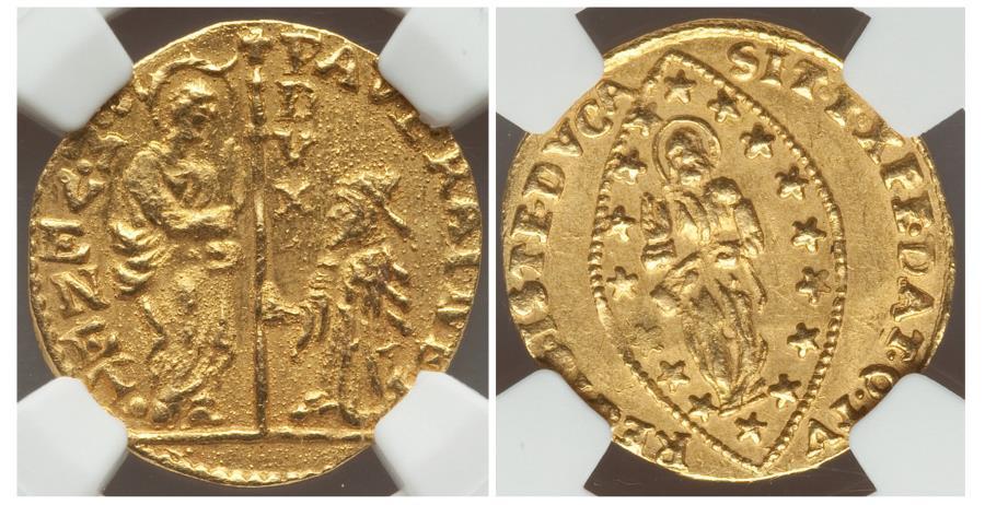 World Coins - Italy Venice Paolo Renier gold Zecchino 1779-1789 MS62 NGC