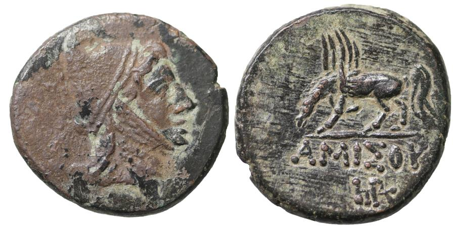 Ancient Coins - PONTOS, Amisos. Mithradates VI. 120-63 BC. Bronze. Scarce. Black Patina. XF