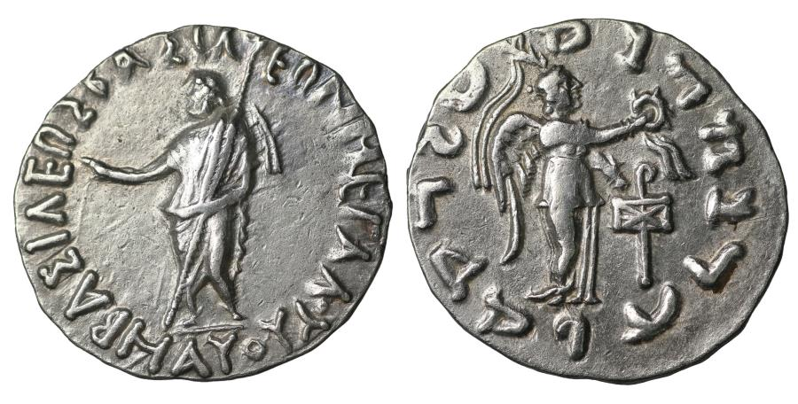 Ancient Coins - Indo-Scythian Kings Maues 90- 57 BC. AR Tetradrachm. Choice EF \ Greek coin