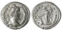 Ancient Coins - Septimius Severus Denarius. 197 AD. SOL on reverse XF+