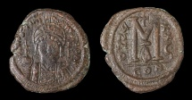 Ancient Coins - Justinian I. AE Follis. 527-565 AD, Constantinople mint. Struck in 552/553 AD