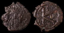 Ancient Coins - Maurice Tiberius. 582-602 AD. AE Half Follis. Thessalonica Mint. Struck in 583/584 AD