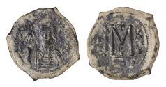 Ancient Coins - Maurice Tiberius 582-602 Constantinople Æ follis VF+