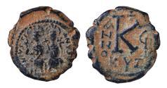 Ancient Coins - Justin II. 565-578 AD. AE Half Follis. 20 NUMMI. Mint of Cyzicus. 573 AD. Scarce XF