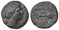 Ancient Coins - Sicily Syracuse Agathokles 317-289 BC AE Litra aXF \ Greek Coins