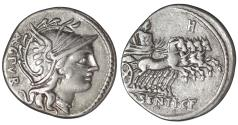 Ancient Coins - L. Sentius. AR Denarius. 101 BC \ Jupiter in Quadriga