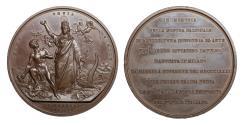 World Coins - Italian Kingdom Umberto I Milan Bronze Medal 1881  71 mm. - 89.65 gr. Rare UNC