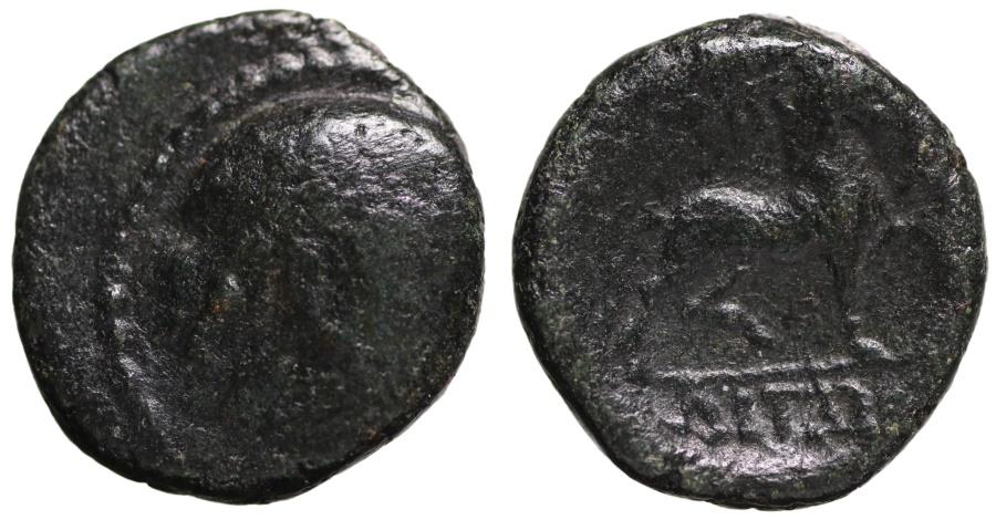 Ancient Coins - Amphipolis, Macedonia, AE16. Poseidon \ Horse stepping right