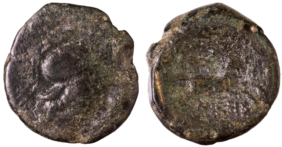 Ancient Coins - Thessalonica, Macedonia, AE19. 187-31 BC. Athena \ horse galloping