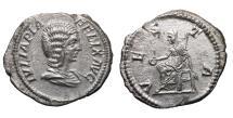 Ancient Coins - Julia Domna. AR denarius VESTA XF