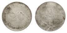 CHINA REPUBLIC. Kwangtung. 20 Cent. 1920. AR 5.3 gr. – 23.5 mm. Kr. Y423. Scarce.  EF