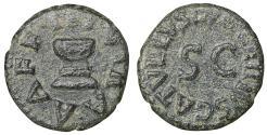 Ancient Coins - Augustus 27 BC-AD 14 Ӕ Quadrans Valerius Catullus, moneyer. Rome, 4 BC XF \ Roman Coins