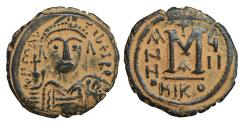 Ancient Coins - Maurice Tiberius 582-602 Æ Follis Nicomedia  XF \ Byzantine coins