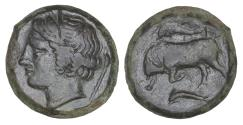Ancient Coins - SICILY Syracuse Agathokles 317-289 BC Hemilitra Dark Green olive patina UNC