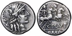 Ancient Coins - C Plutius 121 BC AR Denarius RARE VF+ \ Roman Republic