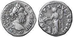 Ancient Coins - MARCUS AURELIUS (161-180). Denarius. Rome. Salus VF\XF