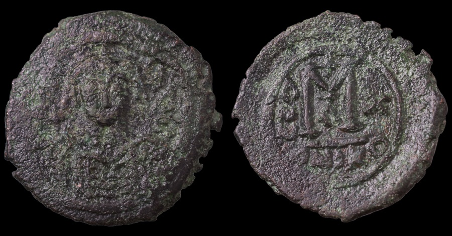 Ancient Coins - Maurice Tiberius. 582-602 AD. AE Follis. Nicomedia mint. Struck in 592/593 AD VF