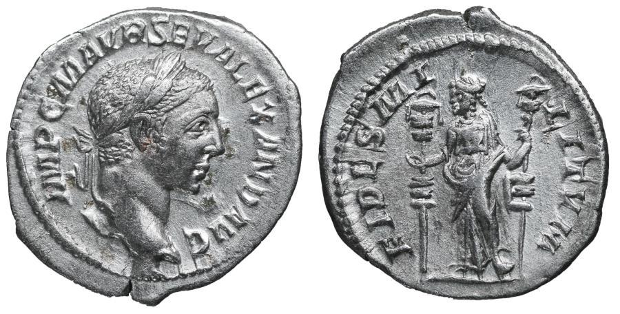 Ancient Coins - Severus Alexander Denarius 225 AD FIDES MILITVM XF