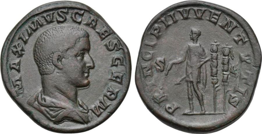 Ancient Coins - Maximus as Caesar. 235-238 AD. AE Sestertius. Rome mint. EF.