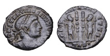 Ancient Coins - CONSTANTINE II. 337-340 AD. AE15. Treviri mint GLORIA EXERCITVS