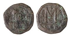Ancient Coins - Justinian I Follis Constantinople Struck in 542/543 AD. VF, brown patina. Good struck