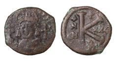 Ancient Coins - Justinian I. AE Half Follis. 527-565 AD, Theupolis mint. VF, brown patina. Good struck