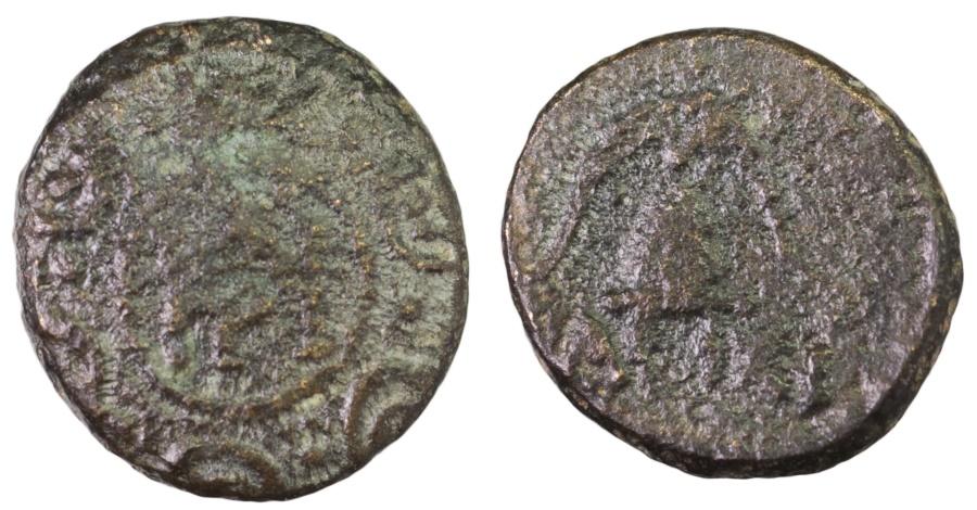 Ancient Coins - Macedon, Interregnum. 288-277 BC. AE15  Macedonian shield / Helmet