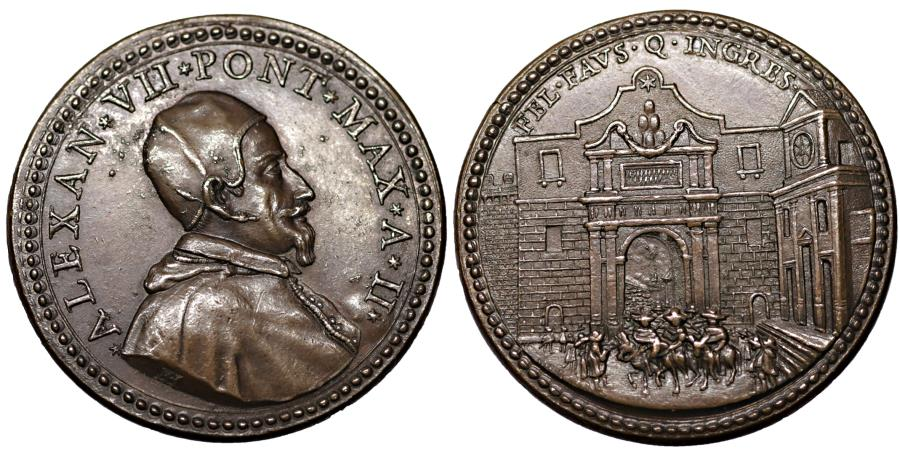 World Coins - Papal States Alexander VII 1655-1667 Medal 1656  R2 MS Old Patina collection