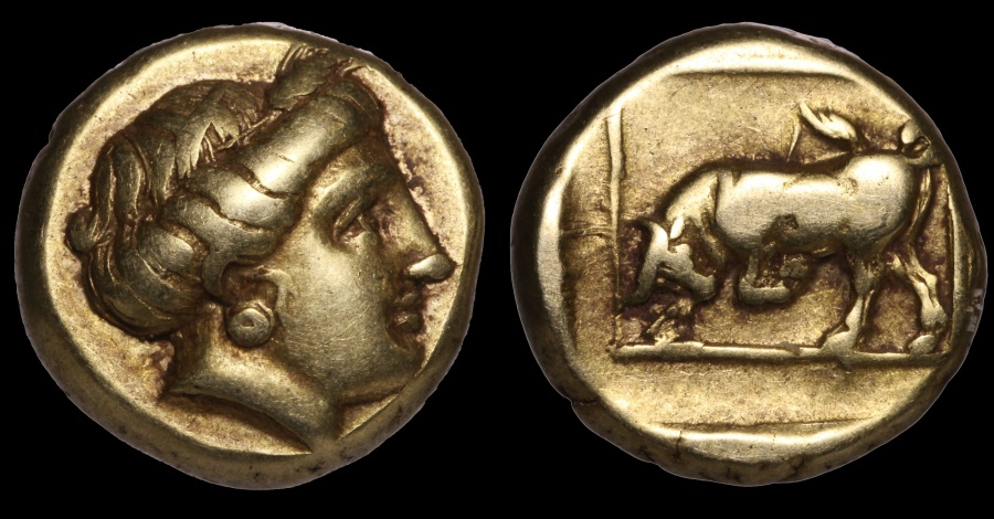 Ancient Coins - LESBOS MYTILENE 377-326 BC. EL Hekte.  Persephone \ Bull EXTREMELY FINE RARE