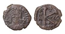 Justinian I. AE Half Follis  Theupolis mint. Struck in 554/555 AD. VF+, brown patina. Good struck