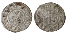 World Coins - ITALY ANCONA (Repubblic). 1250-1300 dc. Denaro.