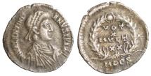 Valentinian II. 383-388 AD. Mediolanum (Milan). AR Siliqua XF. Toned. Rare.