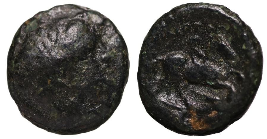 Ancient Coins - Macedonia. Philip II. 359-336 BC. AE17 Head of Apollo VF