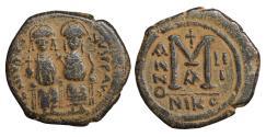 Ancient Coins - Justin II 565-578 Justinus II & Sophia Follis 567-568 Nicomedia  VF+