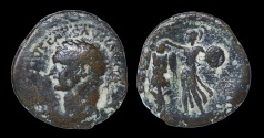 Ancient Coins - JUDAEA CAPTA. CAESAREA MARITIMA MINT. Domitian struck 83 AD Sandy patina. VF. RARE. Hendin 1455
