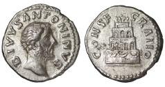 Ancient Coins - ANTONINUS PIUS Denarius 161 AD CONSECRATIO, funeral pyre. EF+
