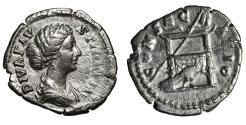 Ancient Coins - Diva Faustina II. AR Denarius. Rome, AD 176-180. XF Roman coin